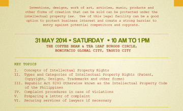 "Special Discount for Freelance Blend Followers: ""Protecting your Business with Intellectual Properties"" (May 31, 2014)"