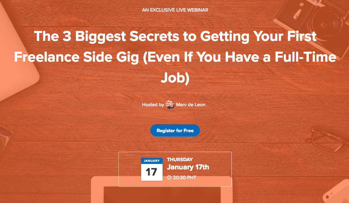[FREE Web Class]: The 3 Biggest Secrets to Getting Your First Freelance Side Gig (Even if You Have a Full-Time Job)